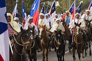 Traditionally dressed horse riders participating in Cuasimodo, a Catholic festival, Colina, Chacabuco Province, Santiago Metropolitan Region, Chile, Latin America. April 2017.  -  Kristel  Richard