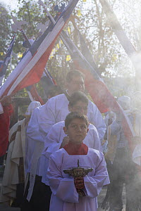Priest and choir boys participating in Cuasimodo, a Catholic festival, Colina, Chacabuco Province, Santiago Metropolitan Region, Chile, Latin America. April 2017.  -  Kristel  Richard