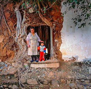 Grandmother and grandson  standing next to Strangler fig (Ficus padifolia) covering the wall of their home, Aduana, near Alamos, Sonora, Mexico 1992  -  Jack Dykinga