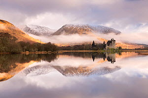 Kilchurn Castle, sunrise, early morning mist and light, a ruin on a rocky peninsula, the northeastern end of Loch Awe, in Argyll and Bute, Scotland, UK. March 2017. - Ross Hoddinott