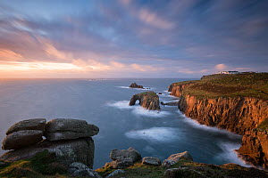 Enys Dodnan Arch, the Armed Knight rock and Longships lighthouse, Land's End, Cornwall, UK. October 2016. - Ross Hoddinott