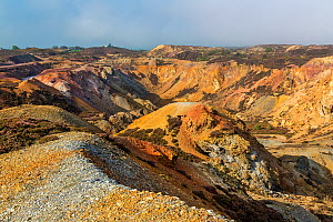 Parys Mountain disused copper ore mine showing view of the Great Opencast area in morning light. Near Amlwch north west, Anglesey North Wales, UK, September. - Alan  Williams