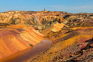 Parys Mountain disused copper ore mine showing precipitation ponds. Near Amlwch, north west Anglesey, North Wales, UK September.  -  Alan  Williams