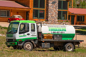 Truck used for spraying Mountain pine beetle (Dendroctonus ponderosae) in Colorado, USA, June. The current outbreak of mountain pine beetles has been particularly aggressive. This is due to climate ch... - Jeff Foott