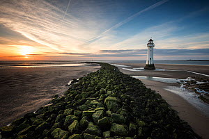 A view of Perch Rock Lighthouse and the River Mersey, from New Brighton, Wirral, England, UK, April - Graham Eaton