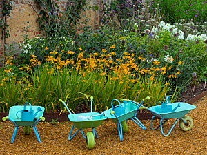 Childrens wheel barrows and watering cans in school gardening project England, UK. - Ernie  Janes