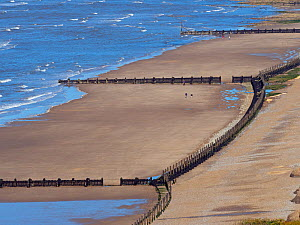 View of Runton beachw with sea defences at low tide, viewed from Beeston hill, North Norfolk, England, UK. July 2017.  -  Ernie  Janes