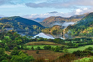 Early morning mist clearing over Llyn Gwynant in the Gwynant Valley looking south west with the summit of Moel Hebog in the background. Snowdonia National Park, North Wales, UK, September 2017  -  Alan  Williams