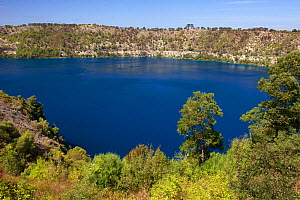 Blue Lake, lake in an extinct volcanic maar (a broad, low-relief volcanic crater)  Mount Gambier, South Australia, Australia, March 2015 . Photographed for The Freshwater Project - Michel  Roggo