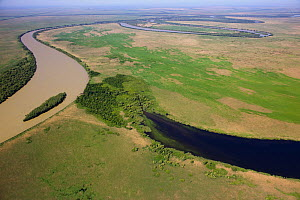 Aerial view of the meandering Saint George branch of the Danube river, Danube Delta Biosphere Reserve UNESCO World Heritage Site, Romania, May 2014. Photographed for The Freshwater Project - Michel  Roggo