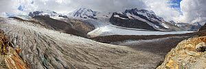Gorner Glacier with crevasses, and Monte Rosa, Liskamm and Breithorn, Valais Alps, Switzerland  Stitched panorama . Photographed for The Freshwater Project 2013  -  Michel  Roggo