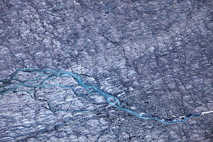 Aerial view of meltwater channels in ice cap north-east of Sermeq Kujalleq Glacier, Sermersuaq / Greenland ice sheet, Greenland, August 2014. Photographed for The Freshwater Project - Michel  Roggo