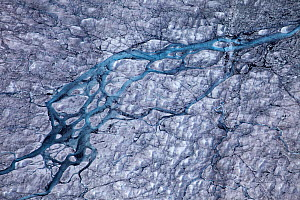 Aerial view of ice cap north-east of Sermeq Kujalleq Glacier, Ilulissat Icefjord UNESCO World Heritage Site, Sermersuaq / Greenland ice sheet, Greenland. August 2014 Photographed for the Freshwater Pr...  -  Michel  Roggo