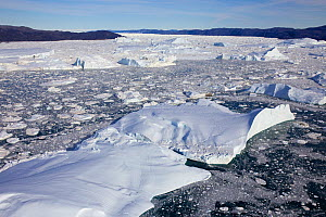 Aerial view of the Ilulissat Icefjord, with the Sermeq Kujalleq Glacier or Jakobshavn Isbrae entering the sea,  Ilulissat Icefjord UNESCO World Heritage Site, Greenland,  2014 August 2014 . Photograph...  -  Michel  Roggo