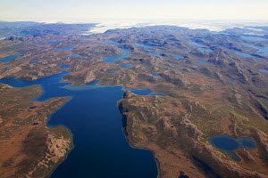 Aerial view of the landscape of the south-west coast of Greenlandbetween Kangerlussuaq and Ilulissat, with glaciers stretching out of the ice shield towards the sea.  Ilulissat Icefjord UNESCO World H...  -  Michel  Roggo