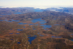 Aerial view of the landscape of the south-west coast of Greenland between Kangerlussuaq and Ilulissat, with glaciers stretching out of the ice shield towards the sea.  Ilulissat Icefjord UNESCO World...  -  Michel  Roggo