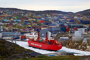 Illulissat harbour with container ship, which brings goods twice a year. Ilulissat Icefjord UNESCO World Heritage Site, Greenland. August 2014. Photographed for The Freshwater Project  -  Michel  Roggo
