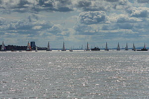 Yachts lining up for the start of the Clipper Round the World Race 2017-18, on the River Mersey, Liverpool, UK. 20th August 2017.  -  Alan  Williams