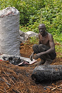 Local man making charcoal, Kenya, July 2017.  -  John Cancalosi