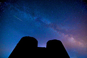 Perseid meteors over the White Castle, Brecon Beacons National Park, International Dark Sky Preserve, Monmouthshire, Wales, UK, August. - Phil Savoie