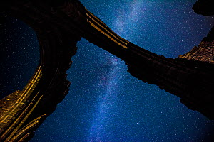 Milky way seen through ruined archway of Llanthony Priory. Brecon Beacons National Park, Monmouthshire, Wales, UK, August 2017.  -  Phil Savoie