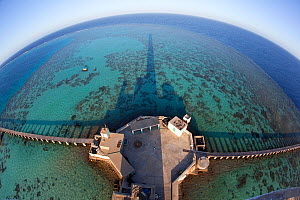 Panoramic view of reef and pier from Lighthouse, Sanganeb Reef, Sudan, Red Sea. May 2011. - Franco  Banfi