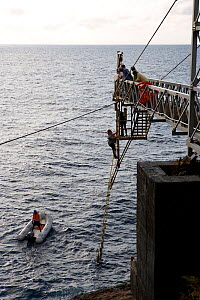Rope ladder used to land on the island, Malpelo Island  National Park, UNESCO World Heritage Site, Colombia, East Pacific Ocean  -  Franco  Banfi