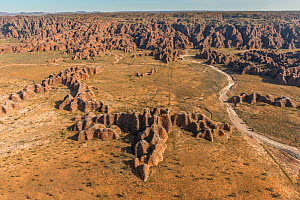 Aerial view of the Bungle Bungles. The rock formations are caused by erosion of karst sandstone, Purnululu National Park, UNESCO World Heritage Site, Kimberley, Western Australia. August 2016. - Jurgen Freund