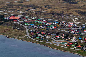 Aerial view of Stanley capital city, Falkland Islands, East Falkland British Overseas Territory, December 2016.  -  Mike Read