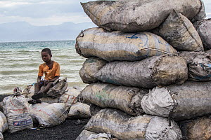 Child selling bags of charcoal bags north of Port-Au-Prince, Haiti.  -  Eladio Fernandez