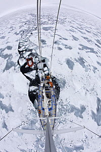 Passage made in wake of sailing boat through ice. Photographed from the top of the mast, Spitsbergen, Svalbard, Norway, Arctic Ocean. July 2014.  -  Franco  Banfi