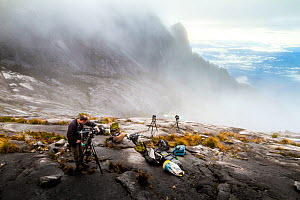 Camera operator Richard Kirby filming on the summit of Mount Kinabalu, Borneo, May 2013. - Paul Williams