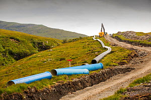 A 700 Kw hydro pwer scheme being constructed on the slopes of Ben More on Mull, Scotland, UK.  -  Ashley Cooper