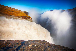 Water flowing out of the Karahnjukar dam and Halslon reservoir, a massive new controversial hydro electricity project in North East Iceland. It was created by damming the Jokuls a Dal river and floodi...  -  Ashley Cooper