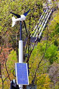 Renewable  energy sources - wind power, solar power and Sloy hydro power station on the shores of Loch Lomond, Scotland, UK. May 2012. - Ashley Cooper