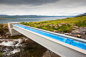 A 700 Kw hydro power plant being constructed on the slopes of Ben more, Isle of Mull, Scotland, UK. August 2014.  -  Ashley Cooper