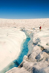 Melt water on the Greenland ice sheet near camp Victor north of Ilulissat, Greenland, July 2008.  -  Ashley Cooper