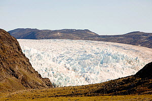 Glacier coming off the Greenland ice sheet near Camp Victor north of Ilulissat, Greenland, July 2008.  -  Ashley Cooper