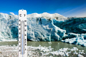 Thermometer taking the air temperature as part of a study to measure the speed of the Russell Glacier near Kangerlussuaq Greenland. July 2008. - Ashley Cooper