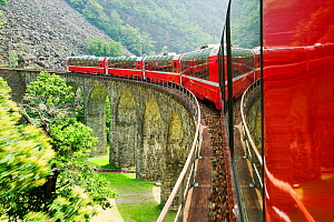 Bernina Glacier express train, which goes from Chur in Switzerland to Tirano in Italy. June 2007.  -  Ashley Cooper