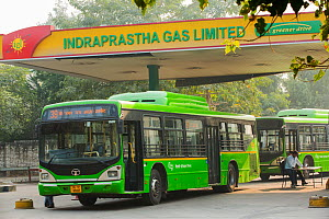 Bus in Delhi, India, December 2012. All of Delhi's buses run on Compressed Natural Gas (CNG), it is the worlds largest eco friendly bus fleet, and has helped to improve Delhi's air quality.  -  Ashley Cooper