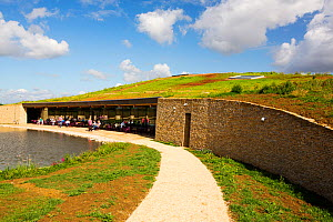 The New Gloucester Service Station on the M5 motorway, UK, is a green roofed building with eco credentials that serves and sells locally sourced food.  -  Ashley Cooper