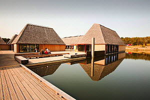 The Brockholes visitor centre at the Lancashire Wildlife Trust reserve in Preston, Lancashire, UK. The Brockholes reserve is a wetland habitat constructed from old gravel pit workings. The green visit...  -  Ashley Cooper