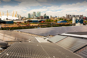 Solar thermal and solar PV panels on the roof of the Crystal building which is the first building in the world to be awarded an outstanding BREEAM (BRE Environmental Assessment Method) rating and a LE... - Ashley Cooper