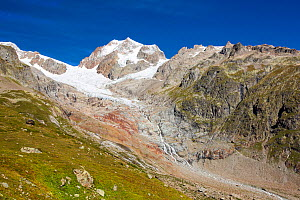 Rapidly retreating glaciers of Glacier De La Lex Blanche and  Glacier du Petit Mont Blanc, Aiguille De Tre La Tete,  Italian Alps, Italy, August 2014. - Ashley Cooper