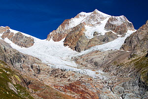 Rapidly retreating glaciers of Glacier De La Lex Blanche and  Glacier du Petit Mont Blanc on the Aiguille De Tre La Tete, Alps, Italy,  August 2014. - Ashley Cooper