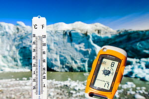 Thermometer taking the air temperature as part of a study to measure the speed of the Russell Glacier near Kangerlussuaq, Greenland.  -  Ashley Cooper