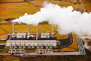 Hellisheidi geothermal power station in Hengill, Iceland. It also supplies hot water via a pipeline to Reykjavik for space heating for households and industry September 2010.  -  Ashley Cooper