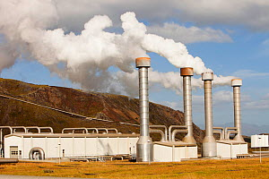 Hellisheidi geothermal power station in Hengill, Iceland is the worlds second largest geothermal power station. It also supplies hot water via a pipeline to Reykjavik for space heating for households...  -  Ashley Cooper
