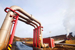 Krafla geothermal power station near Myvatn, Iceland, which produces electricity as well as supplying hot water to heat buildings in the surrounding area. September 2010.  -  Ashley Cooper